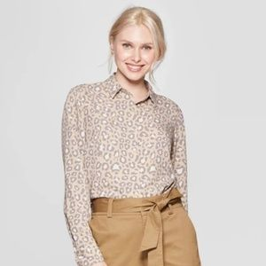 Women's Leopard Print Long Sleeve Crepe Blouse
